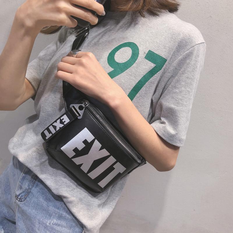 LEFTSIDE 2018 Fashion PU Leather Waist Bag Women Fanny Packs Letter EX_B1_12
