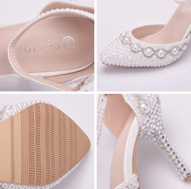 white Extravagant bright crystal Paved Pearl Wedding shoes One word Wristband Bride's shoes Fine heel Wedding Sandals large size 34-42