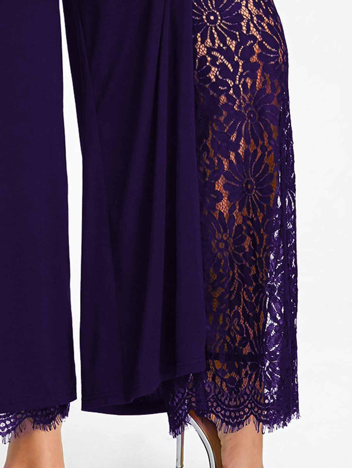Gamiss Women Wide Leg Pants Plus Size High Slit Lace Lined Palazzo Pants Mid Elastic Waist Female Fashion Long Loose Trousers Y1891405