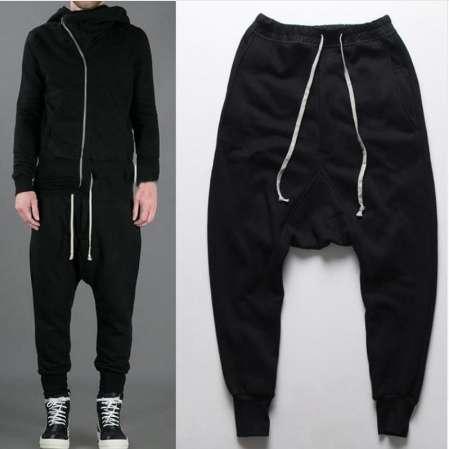 Homme élégant Casual Harem Pantalon Baggy Pants Fashion d/'Entrejambe Tombant Noir Jeans