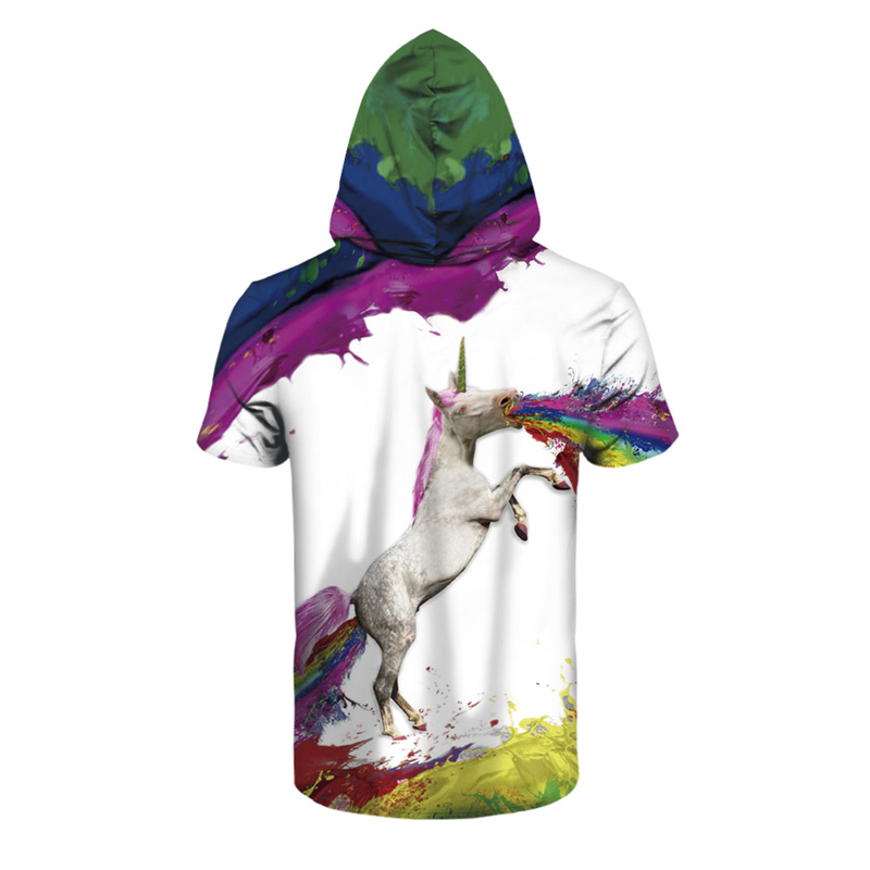 Casual Hoodies T-shirt Men T Shirt Anime Dream Unicorn 3D Print Fashion Harajuku Hip Hop Unisex Hooded Tshirt