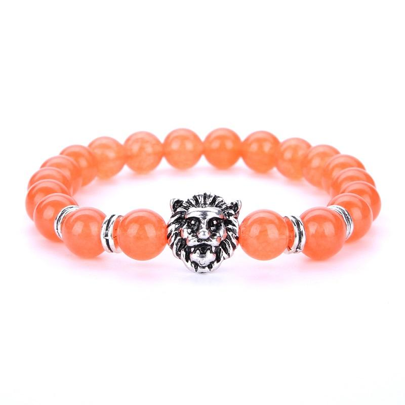 New Bursts Buddha Beads Hand String 8mm Volcanic Stone Natural Stone Agate Beads Men Women jewelry Silver Plated Lion Head Bracelet Whosale