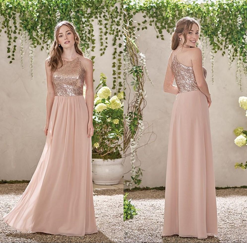 rose gold pailletten brautjungfer kleider 2019 pailletten lange chiffon  halfter eine linie riemen rüschen blush pink trauzeugin hochzeit gast  kleider