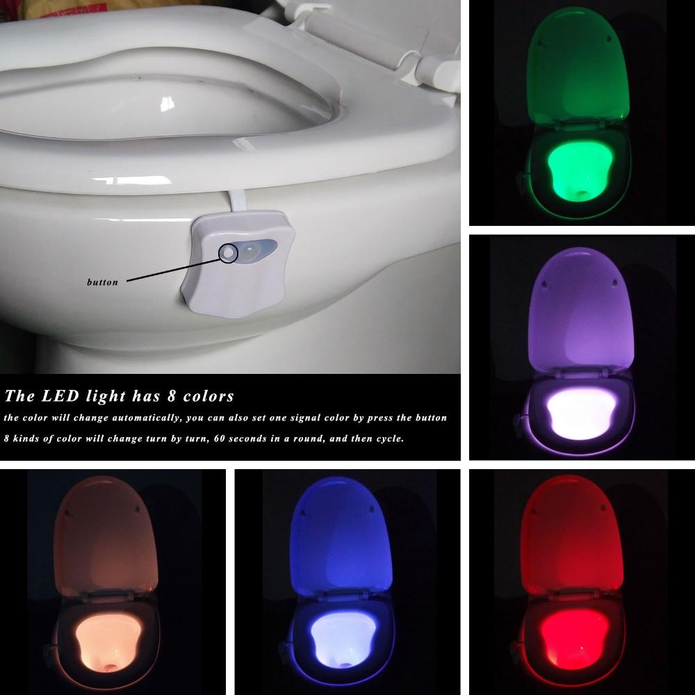 Lumi/ère de cuvette de toilette 8 couleurs changeantes lumi/ère de nuit de toilette /à DEL activ/ée par le mouvement lumi/ère de cuvette /à LED si/ège de toilette /à capteur de mouvement 8 couleur changeante