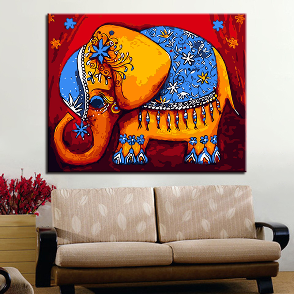 Diy Oil Paint by Numbers Kit 16 by 20 Inches Wall Paintings-Colorful Elephant