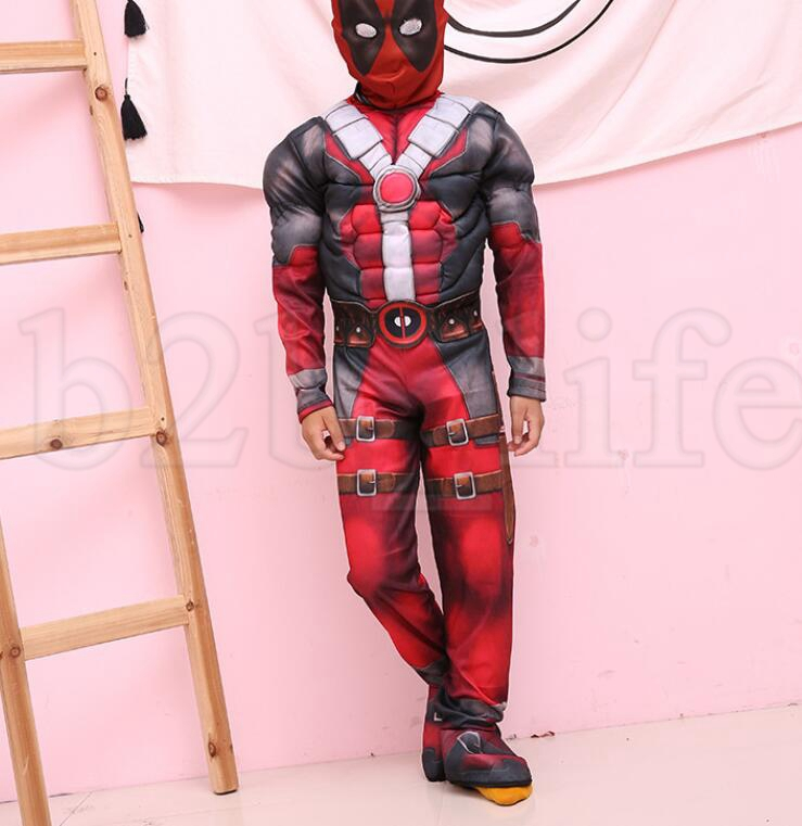 kids Deadpool Cosplay Costume Deadpool Jumpsuits Cosplay Suit With Mask Halloween Party Cosplay Costume clothes+mask sets KKA6047