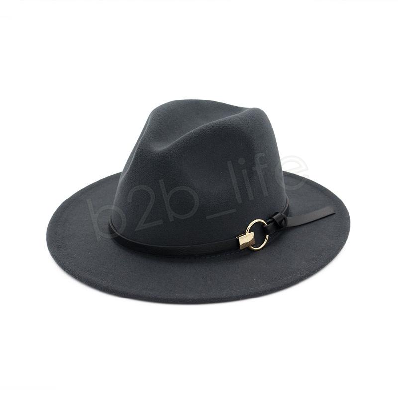 Fashion TOP hats belt with metal ring Elegant Solid felt Fedora Hat Wide Flat Brim Jazz Hats Trilby Panama Outdoor Caps GGA1162