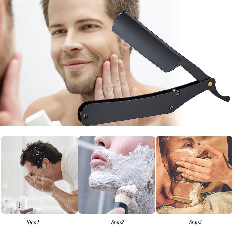 Edelstahl-Rasiermesser-gerader Rand-Friseur-Rasiermesser-faltendes Rasiermesser-Haar-Augenbrauen-Bart-Rasierapparat-Haar-Haar-Rasierapparat-Zusätze