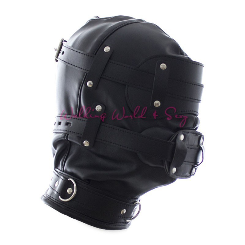 Soft Pu Leather Mask Bondage Hood With Adjustable Dildo Gag Blindfold Fetish Cosplay Slave Mask Adult Game Sex Toys For Couples (2)