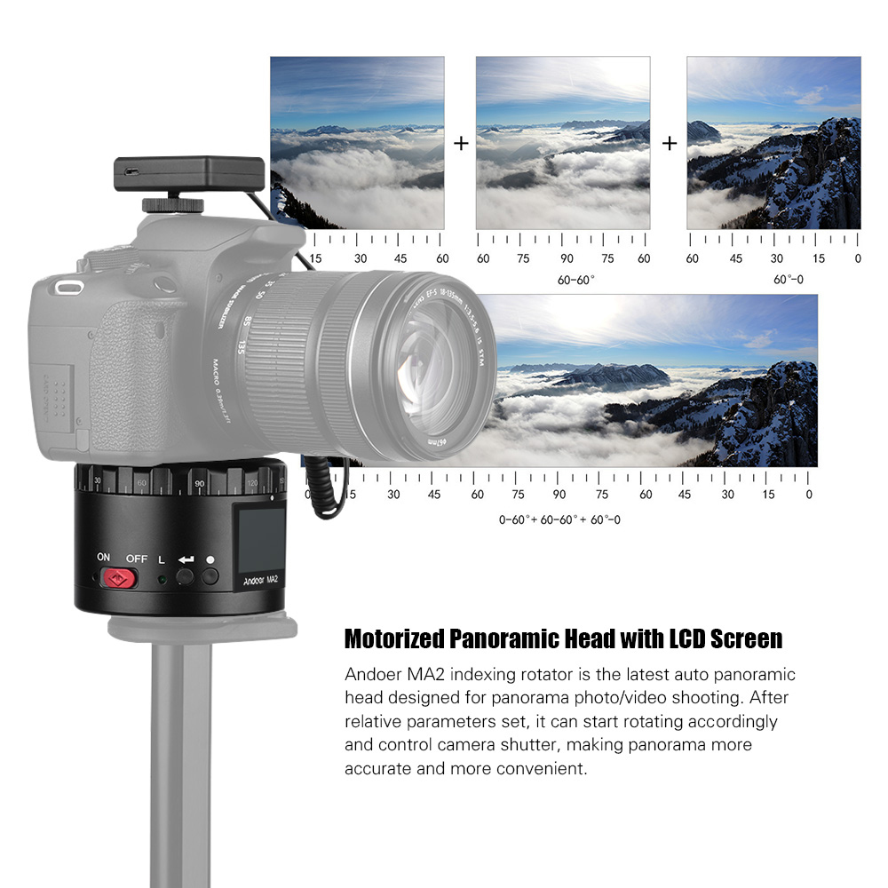 MA2 Panoramic Tripod Head Motorized Ball Head w/LCD Screen Built-in Rechargeable Battery for Canon Nikon Sony for GoPro