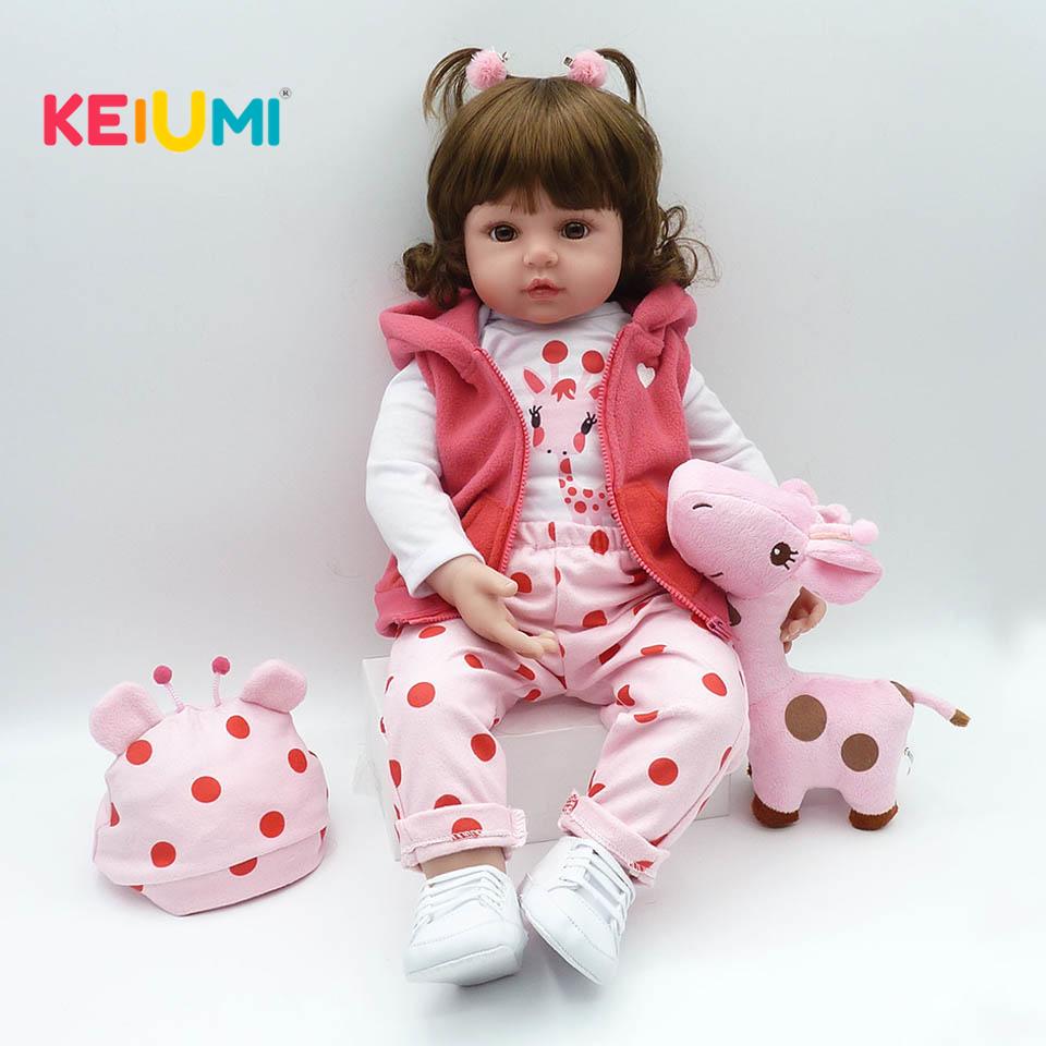 21/'/' Realistic Reborn Baby Doll Newborn Lifelike Cute Curls Girl Doll Soft Vinyl
