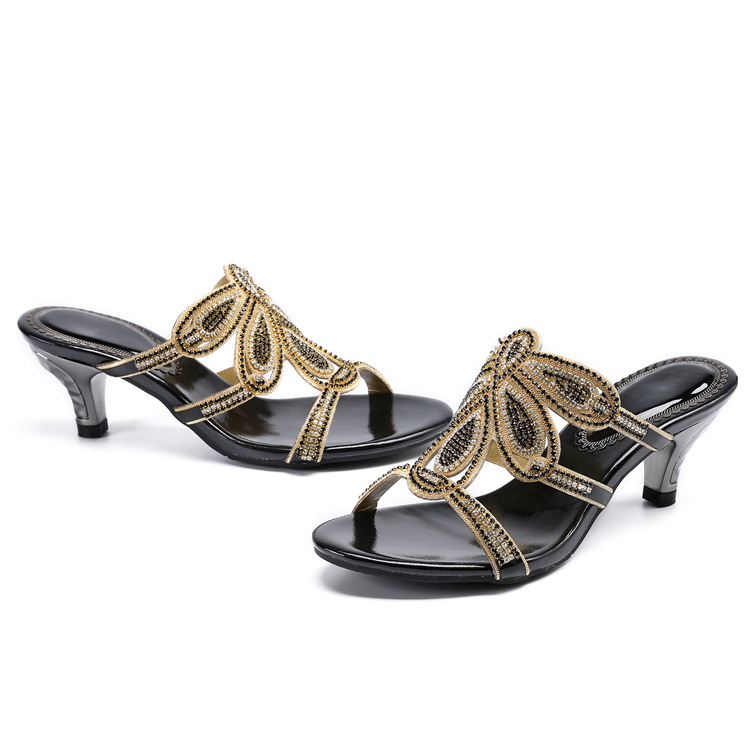 New Luxury Diamond Stiletto High Heels Slippers Online Shopping Peep Toe Womens Shoes Sale High Quality Gold Purple Black Red20