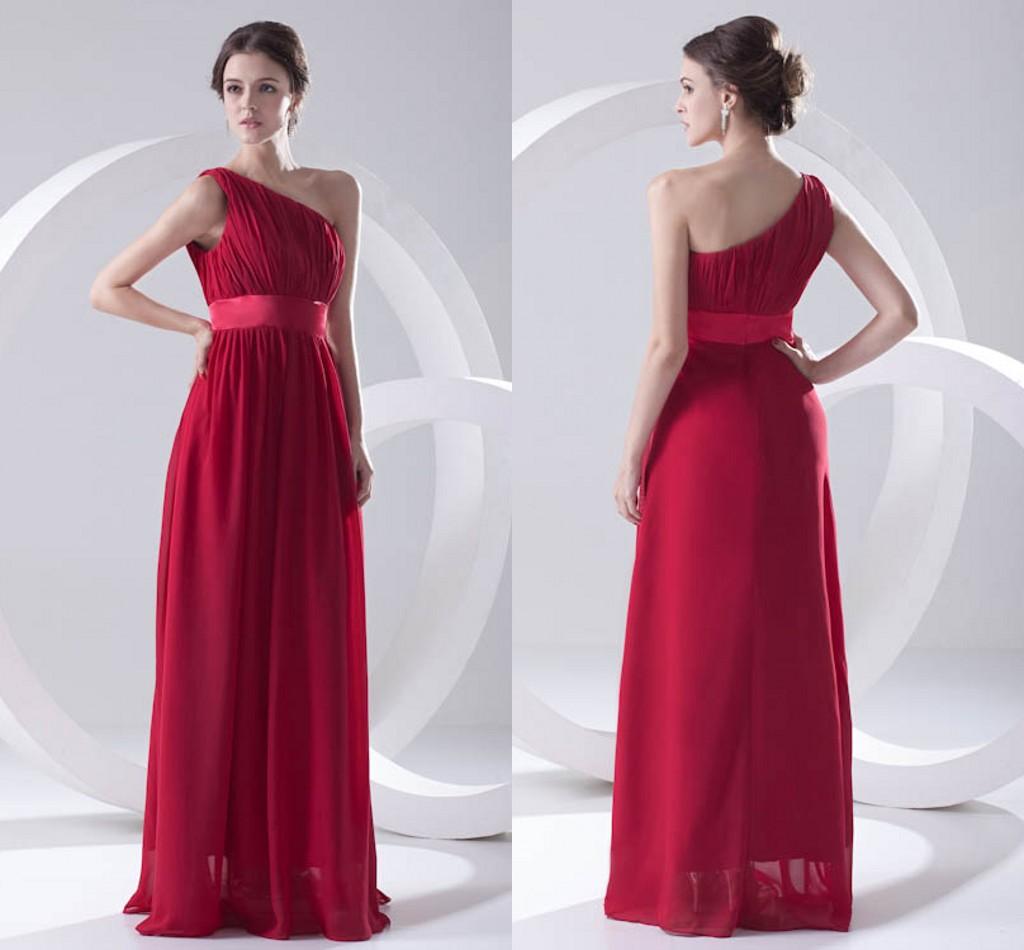 Aktuelle Bilder Dark Red Günstige Chiffon Brautjungfer Kleid Eine Schulter  Backless Trauzeugin Hochzeitsgast Kleider Günstige Lange ZPT9