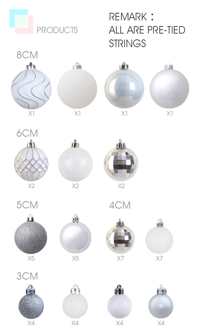 03 inhoo 50pcs Silver White Balls Christmas Decorations for home Christmas Tree Decor Craft Ball Ornaments Pendant Xmas Gifts 2019