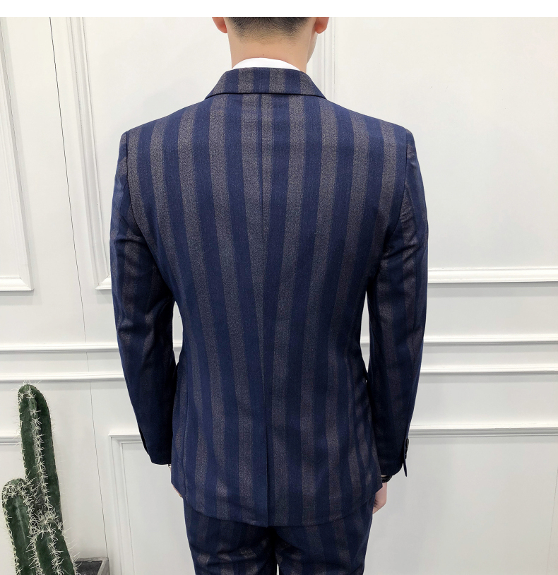 Slim Fit Double Breasted Suit 2018 Latest Coat Pant Designs Skinny Men Prom Stripe Suits Wedding Costume Homme Luxe S18101902