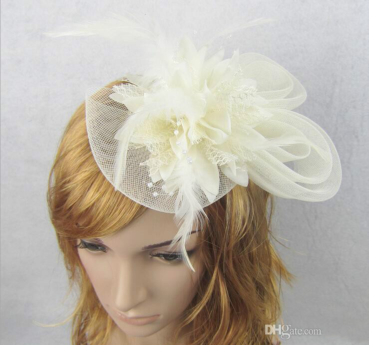 European Style Veil Feather Women Hair Accessories Fascinator Hat Cocktail Party Wedding Headpiece Court Headwear Lady HJIA362