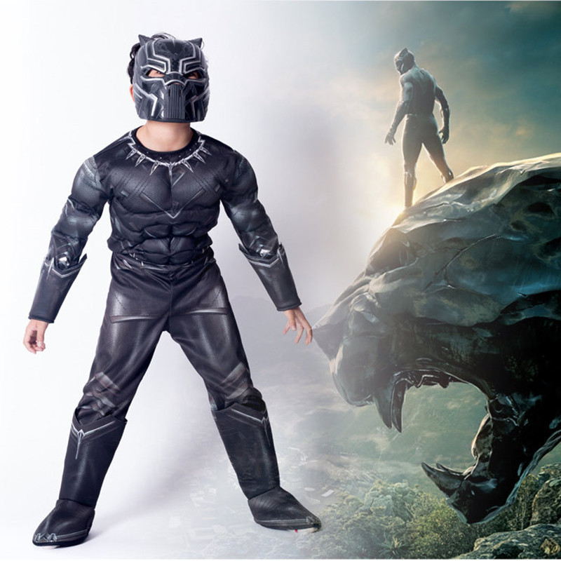 Black Panther Deluxe Costume Boys Marvel Superhero Movie Comic Kids Fancy Dress