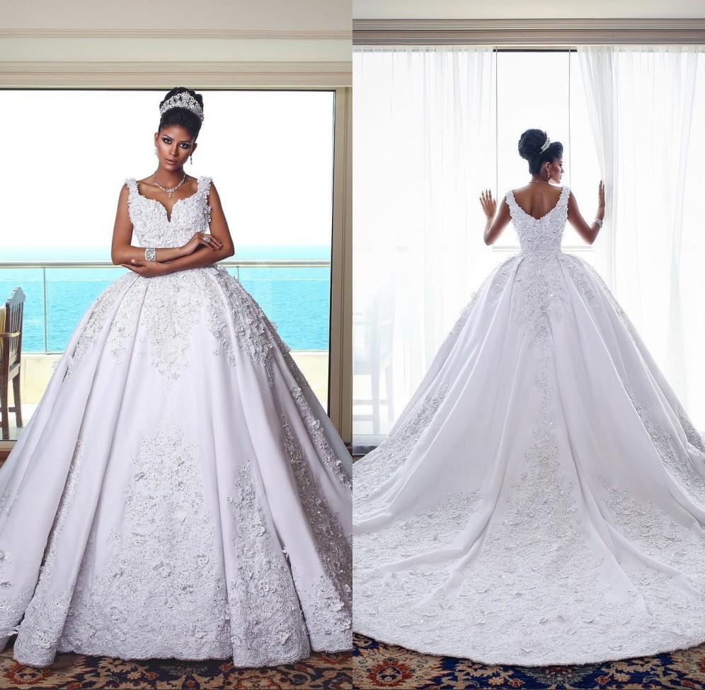Discount 2019 Gorgeous Designer Ball Gown Wedding Dresses Arabic
