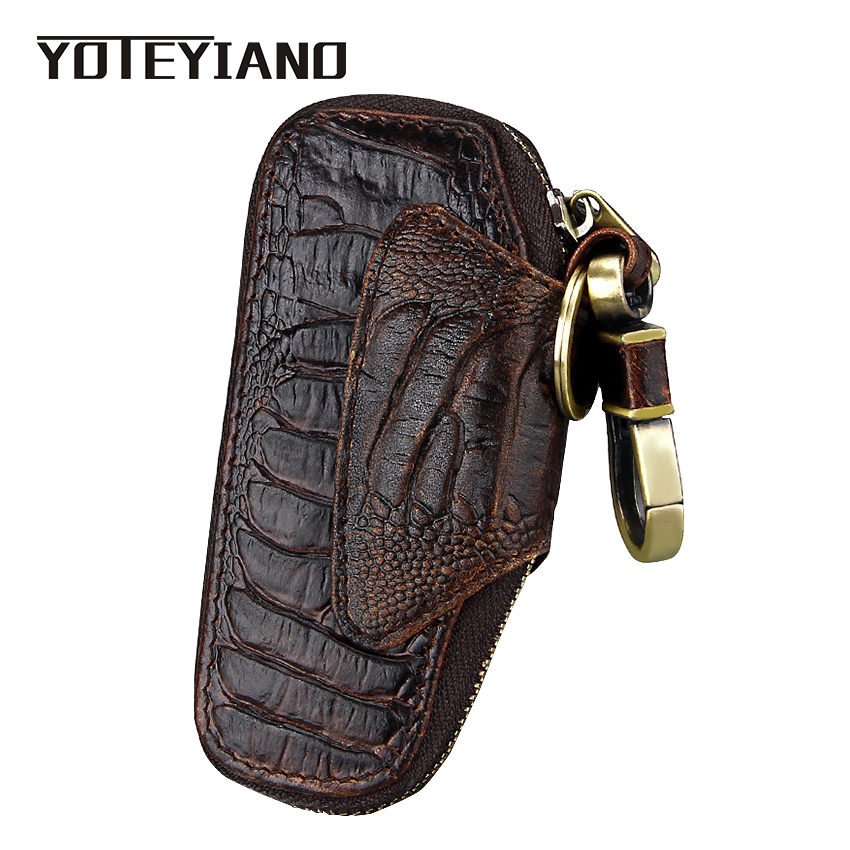 Car Key Case Ring Cover Holder Wallet Men Genuine Leather Vintage Waistcoat New