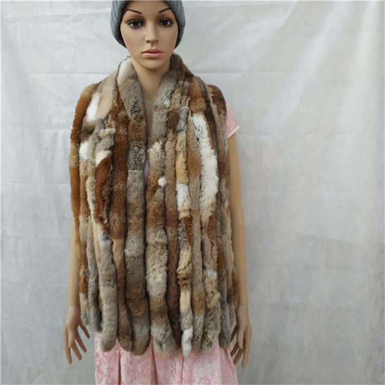knitted rex rabbit fur scarf for women winter (3)