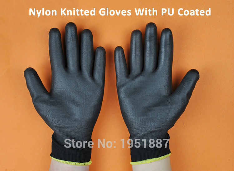 New 12 Pairs Of Brand New Coloured Nylon PU Safety Gloves Builders Mechanics