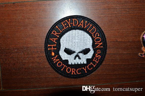 Totenkopf Kreuz Patch Eisen n/ähen auf Tuch gesticktes Badge Motorrad Biker