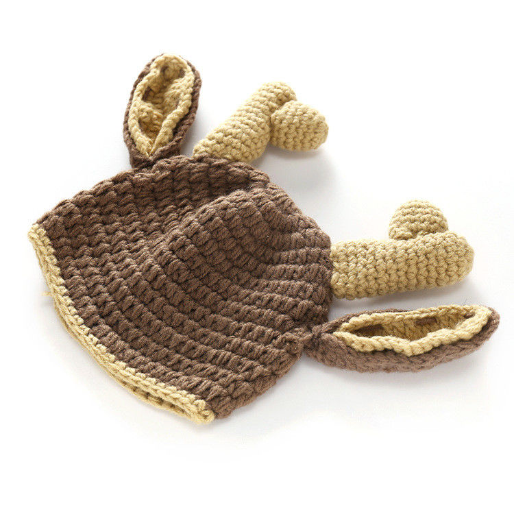 Newborn Photography Props Christmas Elk Costume Baby Photo Props Crochet Knit Deer Infant Beanie Hat+Pants Costume for Boy Girls