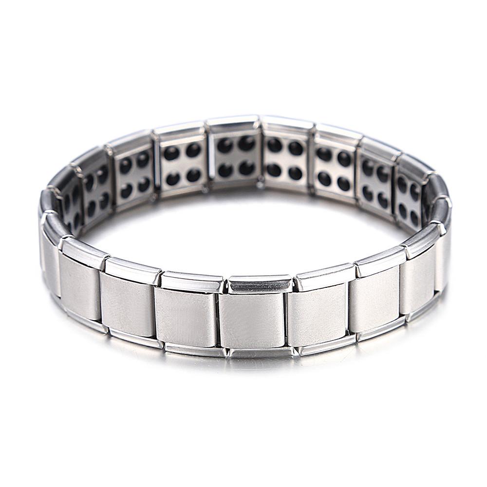 Acero inoxidable pulsera señora caballero Steel//Black Steel 4in1 Power pulsera magnética