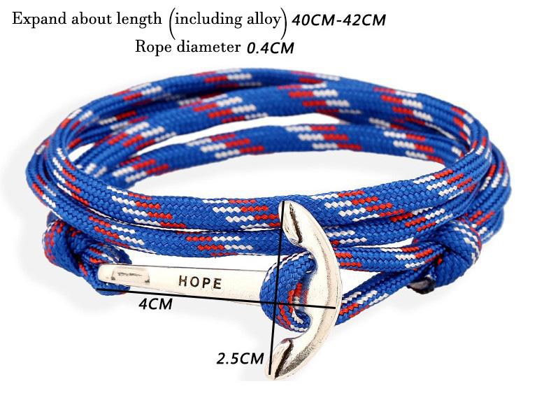 Berühmte Marke Tom Hope 5 Farbe handgemachte Thread Ketten Armband Edelstahl Gold Anker Charms Armband /