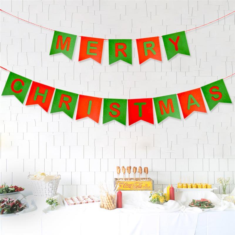 1 unid Banners de Navidad Tela no tejida duradera Bandera de Navidad de colores Feliz Garlan Feliz signo para la fiesta en casa
