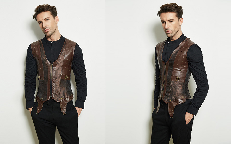 Mens Corset Steampunk Vest Shapers Brown Collar Sleeveless Steel Boned Gothic Corset Jacket Slimming Corsets For Men (8)