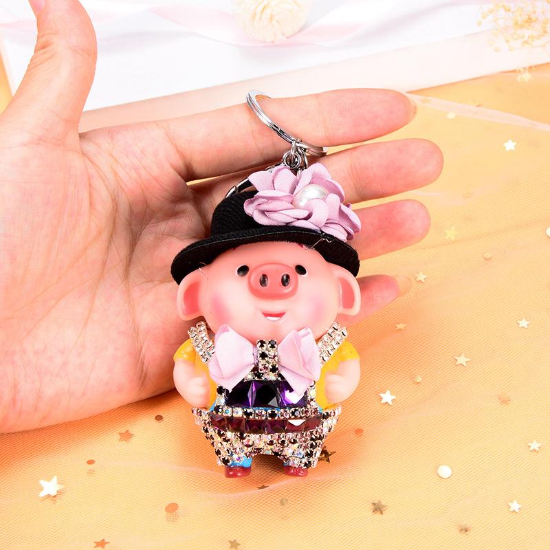 3D Mini Cartoon Animal Keyring Design PVC Keychain Cute Doll Pig Llaveros Handbag Rhinestone DIY Gift Souvenir Holder