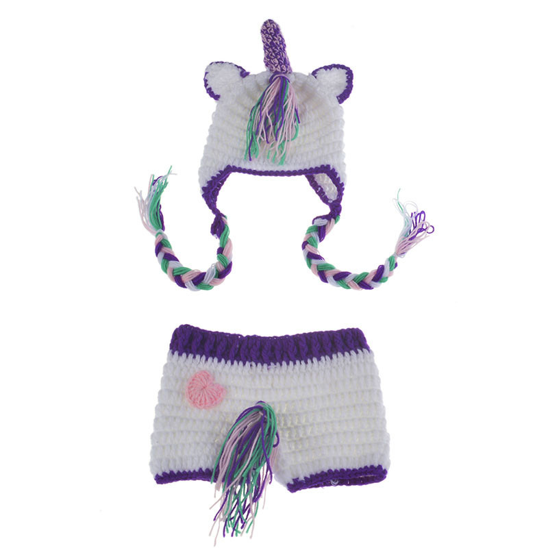 Baby Unicorn Hat and Diaper Cover Newborn Photography Prop Boys Girls Knitted Unicorn Costume Outfit Baby Photo Shoot Cloth Gift