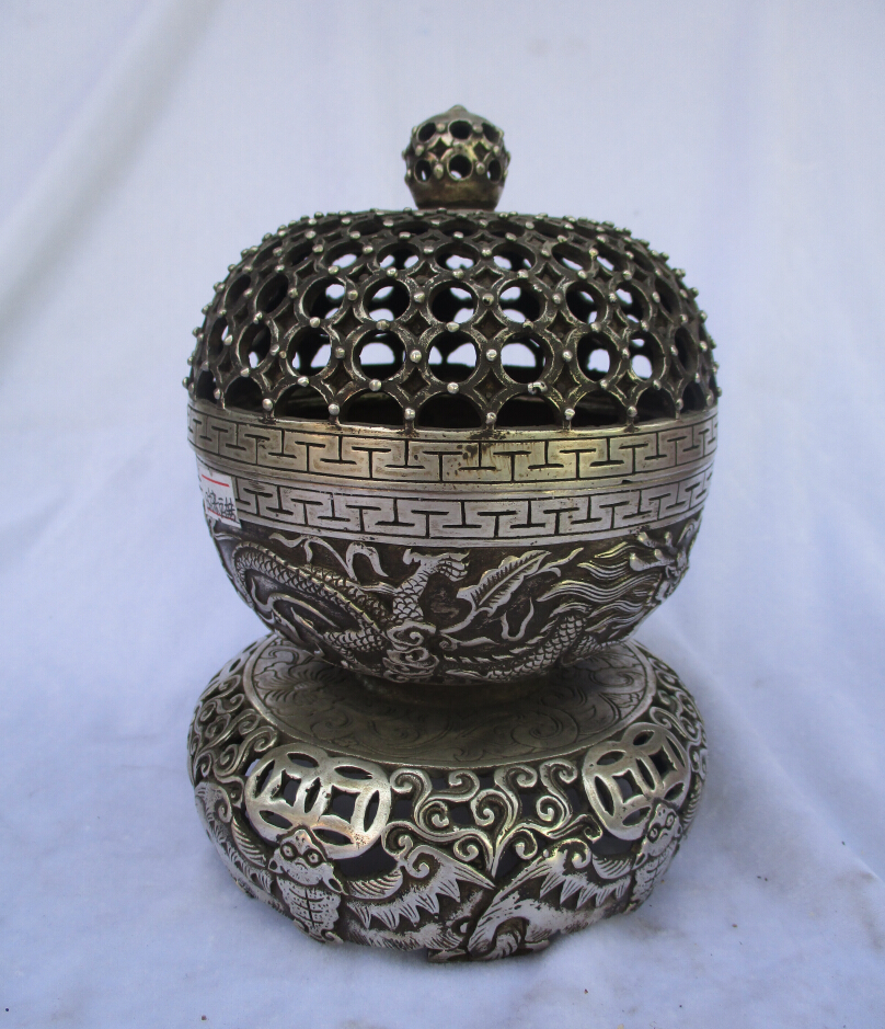 Antique Home Tibetan Silver  Spherical Incense Burner Hollow Flower Shape