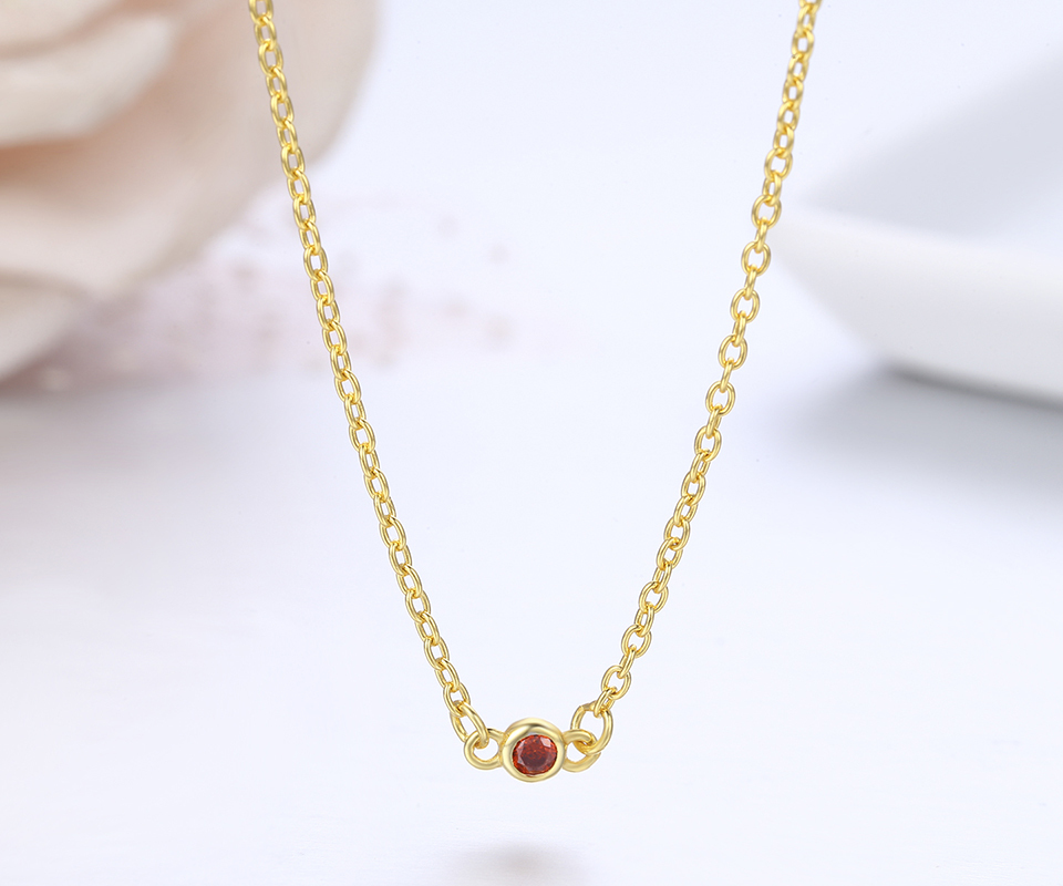 Slim Cute 925 Sterling Silver Gold Color Round CZ Stones Chain Choker Necklace For Women Girls Jewelry Kolye Collares Collier