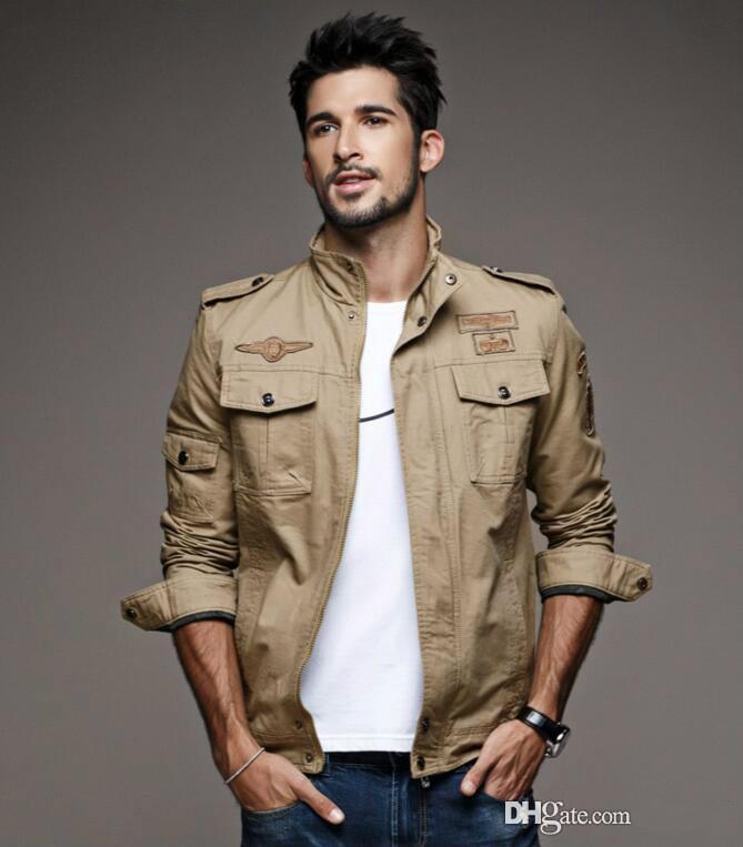 Fashion Hi-Street Mens Military Style Jacket Black Mens Slim Fit Hip Hop Varsity Jacket