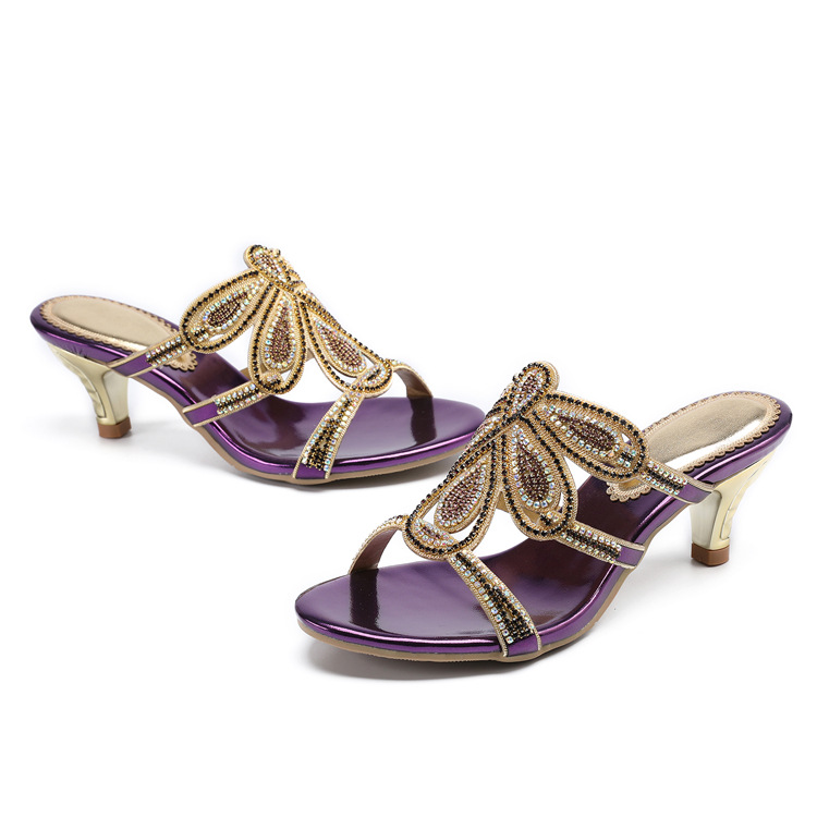 New Luxury Diamond Stiletto High Heels Slippers Online Shopping Peep Toe Womens Shoes Sale High Quality Gold Purple Black Red18