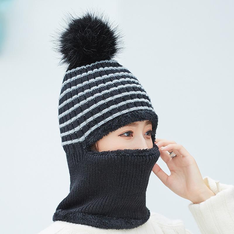 2pcs Fille Hiver Écharpe Chapeau Femmes Chaud Solide Pompons Tricot Souple Bonnet écharpes Set