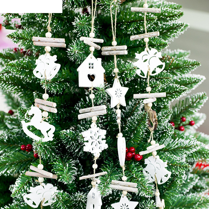 Wooden Craft Christmas Tree Decor Hanging Pendant Bell Snowflake House Ornament Christmas Decoration for Home Xmas Party Y18102609