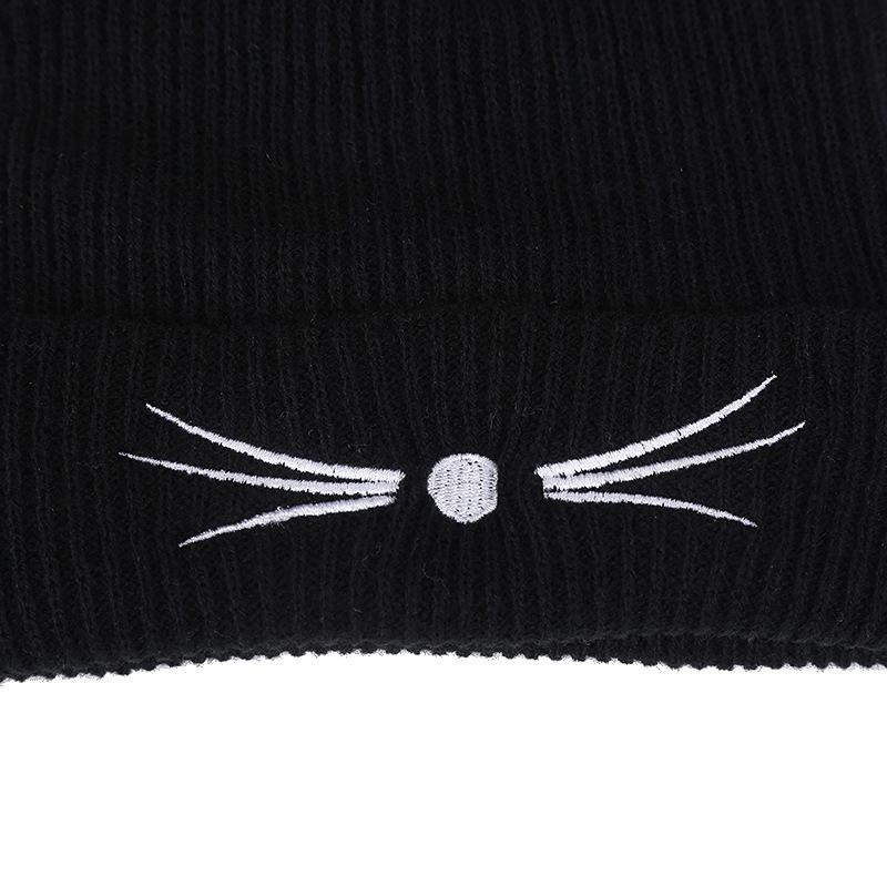 Women 2017 Winter Harajuku Woolen Knitting Beanie Devil Horns Black Cat Ear Crochet Braided Knitted Fur Cap Cute Girls Hat Y18102210