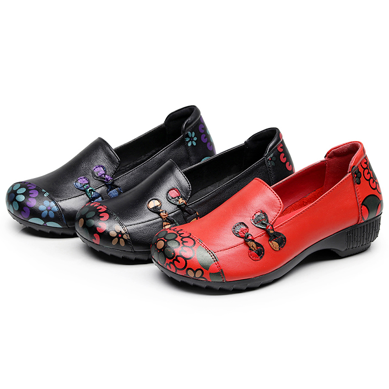 Socofy Vintage Genuine Leather Women Flat Shoes Woman Slip On Printed Ethnic Dance Shoes Soft Sole Casual Loafers Flats Mom Gift