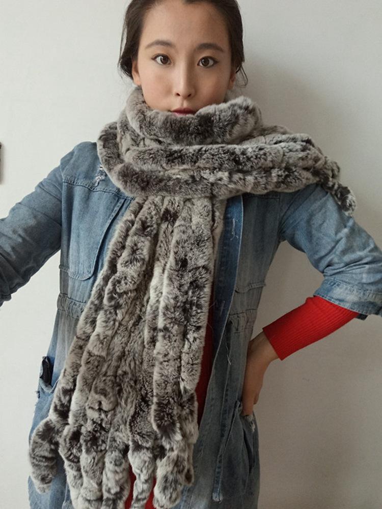knitted rex rabbit fur scarf for women winter (30)