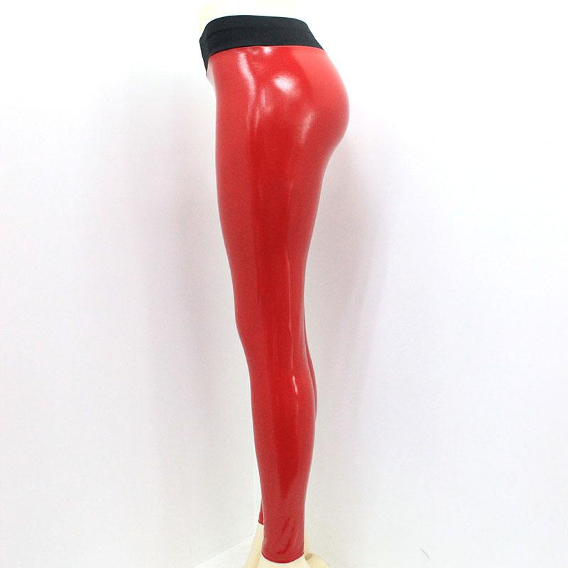 Leggings donna pants pantalone effetto metallizzato vita alta skinny nuovo