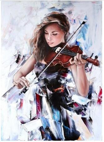 Girls with violin Beautiful woman 6
