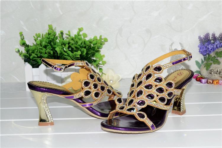 Korean Style Diamond Crystal Luxury Sandals High Heels Roman Womens Purple Evening Shoes Plus Size 11 Fashion 2016 Summer8