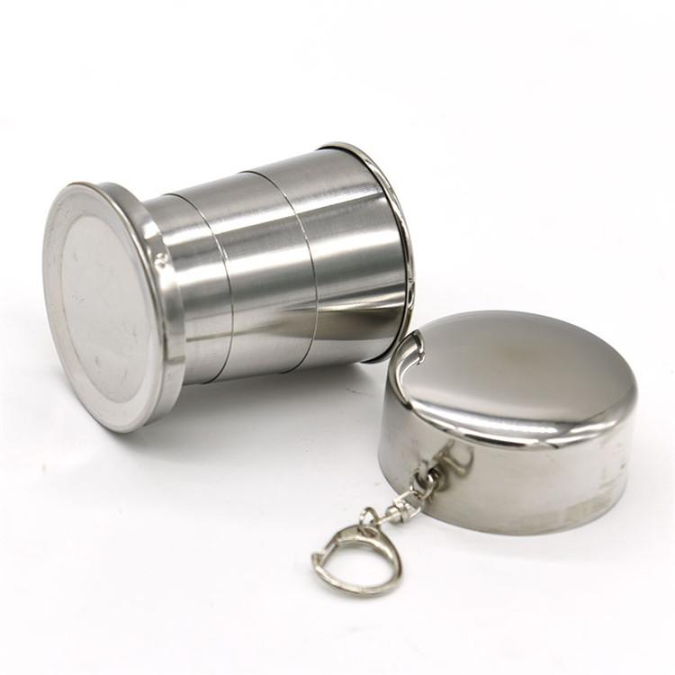 240 ML Portable Faltbare Teleskop Edelstahl Tasse f/ür Whiskey Bier Tee Kaffee Camping Wandern Reise Im Freien