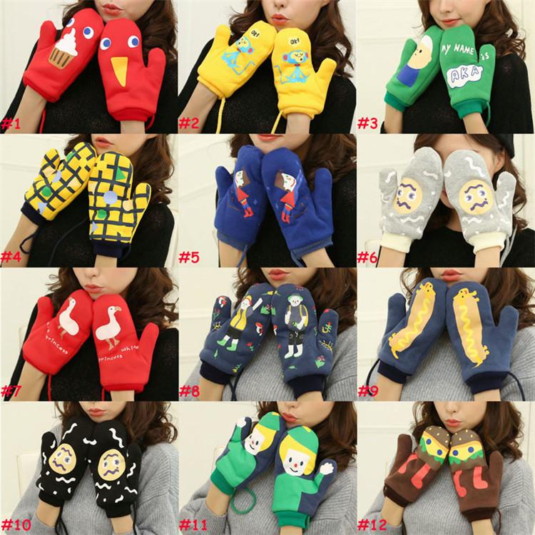 Neue 15 Farben Mädchen Neuheit Winter Cartoon Handschuhe für Frauen Stricken Fitness Warme Handschuhe Doppel plus samt Beheizten Handgelenk Handschuhe 200 paar T1I913