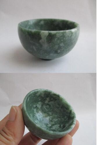 100/%Natural Hand carved Chinese yellow Jade bowl Diameter 12-13cm free