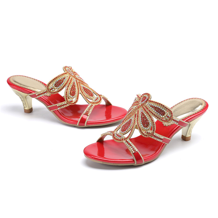 New Luxury Diamond Stiletto High Heels Slippers Online Shopping Peep Toe Womens Shoes Sale High Quality Gold Purple Black Red14