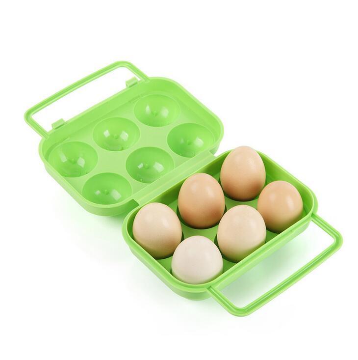 UK 2pcs//Lot 6 Eggs Outdoor Plastic Storage Boxes Egg Holder Camping Egg Carrier